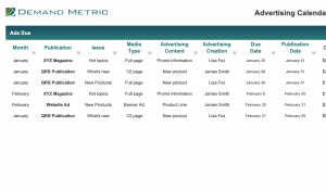 Advertising Calendar and Budget Template 2020