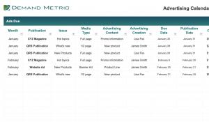 Advertising Calendar and Budget Template 2022