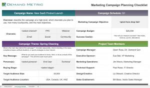 marketing campaign planning checklist