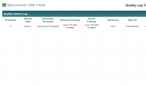 quality log template demand metric