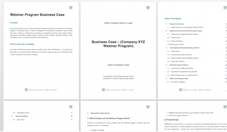 Webinar program business case template demand metric accmission Gallery