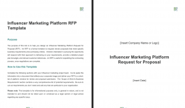 Influencer Marketing Platform RFP Template